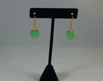 Vintage green apple earrings refurbished