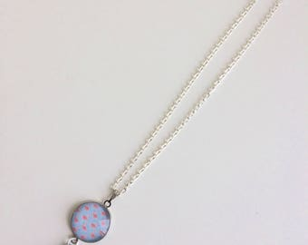 Little pink flamingos and blue tassel necklace