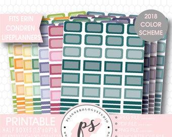 Erin Condren 2018 Color Scheme Half Boxes & Header Printable Planner Stickers Bundle (12 Sheets) | JPG/PDF/Silhouette Cut Files