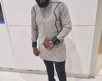 Men's African Wear, Gray with Black Design, African Print, African Designs, African Clothing, African Fashion