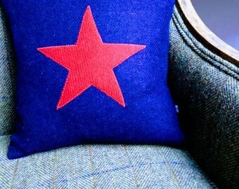 SALE Hand Crafted Harris Tweed star cushion cover