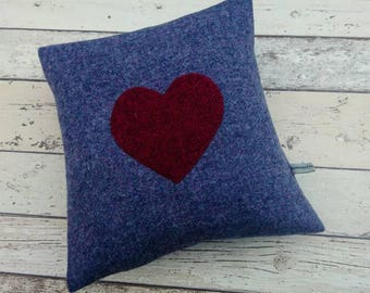 Hand Crafted Harris Tweed purple heart cushion cover