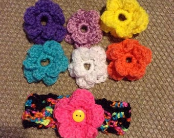 On Sale 20% Crochet Headband with interchangeable flowers