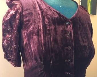 1970's does 1940's velvet vintage dress