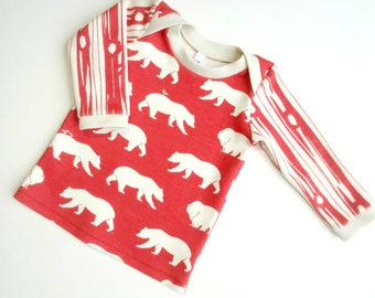 ORGANIC baby shirt-Baby bears on red top-Baby boy shirt-Baby girl shirt-Organic toddler clothing-Baby winter clothes-Baby gift