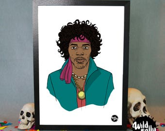 Jimi Hendrix portrait / portrait of Jimi Hendrix. Print. Blade.