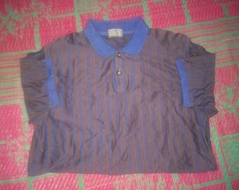 Vintage Christian Dior mounsier striped down purple blue polo knitted Japan M