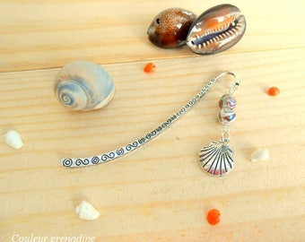 Bookmark silver metal, shell and Brown beads, gift idea party a grand mothers, Easter
