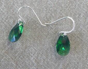 """Earrings silver hook """"Moss green teardrop"""""""