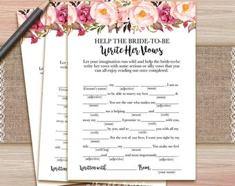 Help The Bride Write Her Vows Boho Bridal Shower Game - Wedding Vows Printable Bohemian Bridal Shower Game - Shabby Chic Bridal Shower 039