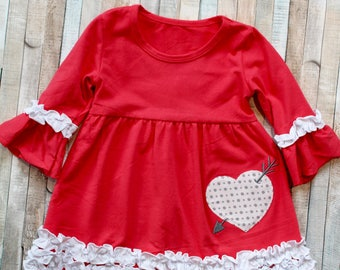 Coral Ruffle Heart Dress