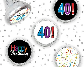 Multicolored Happy 40th Birthday Party Sticker Decorations for Hershey Kisses, Envelope Seals, Celebrate 40 Candy Decorations (Set of 324)