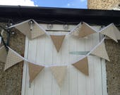 Vintage Look, Hessian, Summer Party, Wedding, Garden Party Bunting - 12 Foot Long!