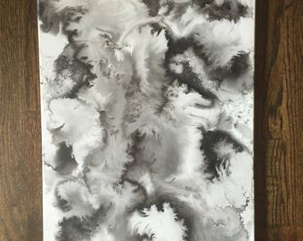 Original Abstract Ink Canvas Painting (16x20)