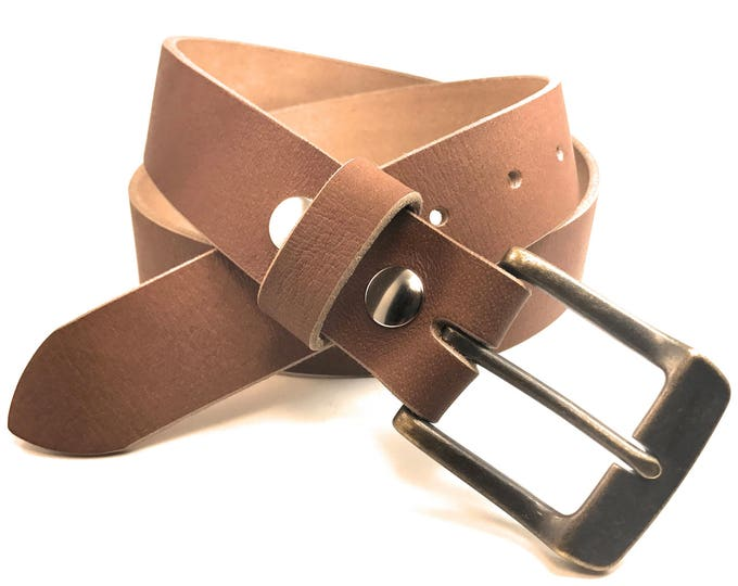Featured listing image: Mens Tan Distressed Full Grain Bridle Leather Belt