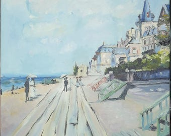 Beach at Trouville. Beach at Trouville by Claude Monet copy.