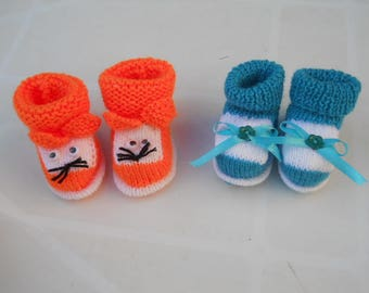 pair of newborn baby booties
