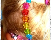 Rockin Aid Retainers:  Rainbow Hibiscus Hawaiian Leis Made with Acrylic and Czech Glass Beads!  Please select quantity 2 for a pair!