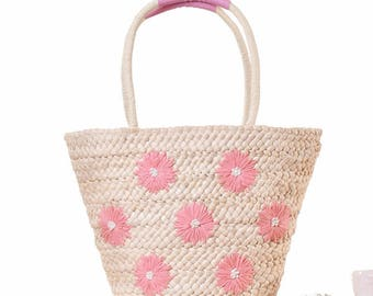 Women Shoulder Bag Straw Beach Tote Bagwith Daisy Flower for Vacation Holidays  Handbags Totes