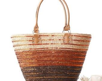2017 Women Straw bag Sequins  Beach Tote Bag Handmade basket for Summer