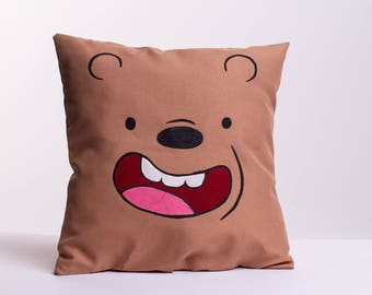 We Bare Bears Inspired - Grizz handpainted throw pillow or cover, 11x11 in or 14x14 in, you choose