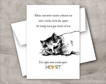 Cat pet loss card, Cat sympathy card, Cat bereavement card, Cat condolence card, Cat remembrance, Hand drawn cat card. Cat and heart card,