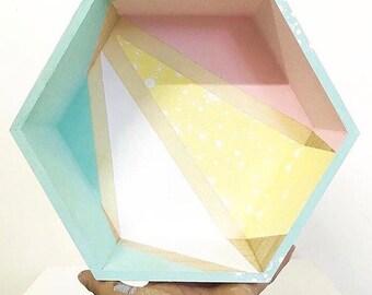 Shelf wood hexagonal