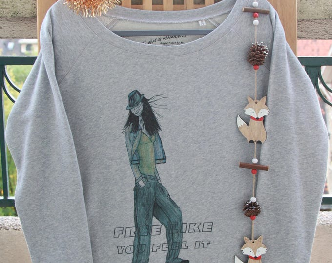 "Sweatshirt grey sexy woman ""stylish girl"". graphic; Girly; graphic; casual; gift for her"