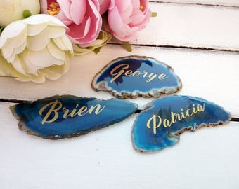 Place cards, Agate wedding geode place cards, Seating card, Agate slice name tag, Unique blue agate name tag, Custom agate table decor, boho
