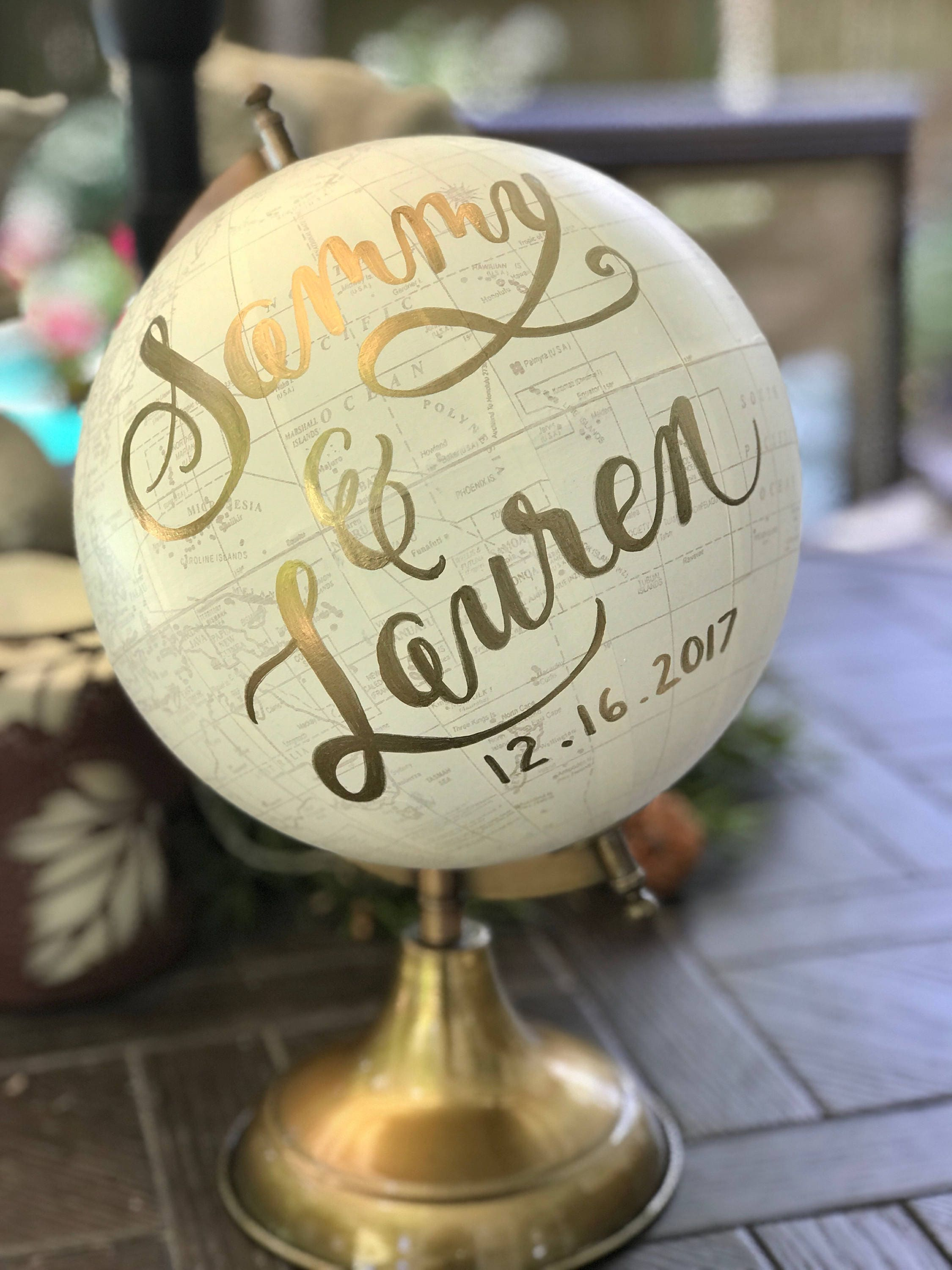 Wedding Guest Book Globe White Washed W Gold Rose Gold Or