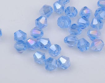 Set of 10 4mm clear AB - Ref blue Bicone Crystal beads: SH57
