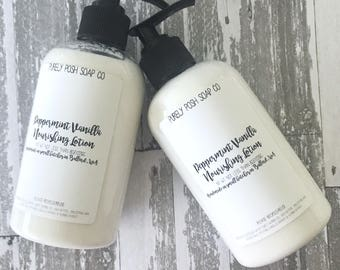 Body Lotion Peppermint Vanilla: Handmade Lotion, Vegan Lotion, All Natural Lotion, Lotion