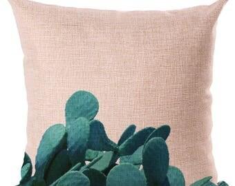 Housse de coussin déco toile de lin et coton beige DESERT CACTUS   Décoration d'intérieur   Salon    Design Tropical    Feuilles VERTES