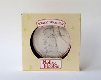 Vintage Holly Hobbie Christmas ornament. Holly Hobbie 1990 Christmas decoration. Holly Hobbie 1990 acrylic ornament in original box.