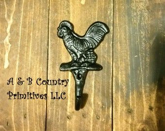 Cast Iron Rooster Wall Hook, Coat Hook, Farmhouse Chicken Decor, Woodworking Supplies and Hardware