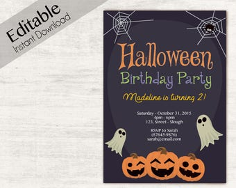 Editable Halloween Invitation, Halloween Birthday Invitation, INSTANT DOWNLOAD, Halloween Party Invitations, Halloween Birthday Invites