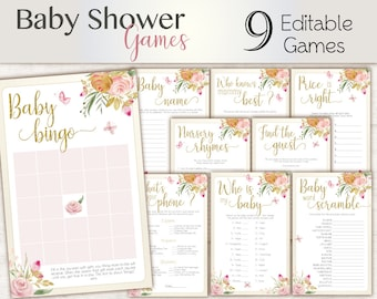 Baby Shower Games, floral butterfly, Editable Baby Shower Games Package Set Bundle, Editable games, Baby Shower Games Girl, Floral Game Set,
