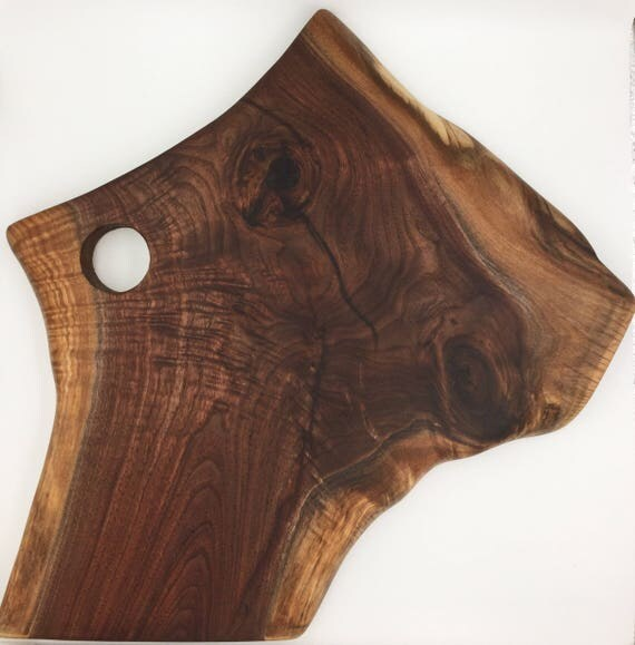Live Edge Figured Walnut Wood Cutting Board