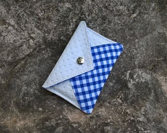 Carry(wear) cards(maps) white blue - gingham blue - white blue clutch - clutch bag blue white gingham