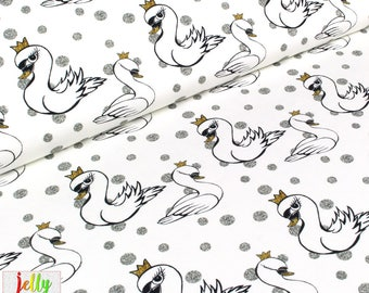 ORGANIC JERSEY Fabric by Wcollection - Swans in Gold / Silver - UK Seller