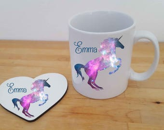 Galaxy Unicorn Personalised Mug and Heart Coaster Gift Set. Choice of designs Available