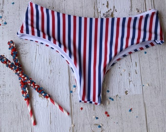Red white and blue, stripes, american festive memorial forth of july boyshort moderate coverage bikini bottoms womans bathing suit swimwear