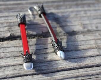 Leather Crown Earrings