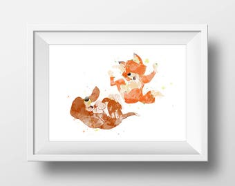 Wall Art Watercolor Fox and Hound Print,Watercolor Disney ,Nursery Print,Printable Disney,Baby Gift,Room Decor,Party Decor,Disney Poster