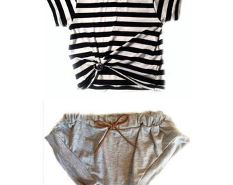 Baggy stripe tee with shorties   baby clothes   baby clothes set
