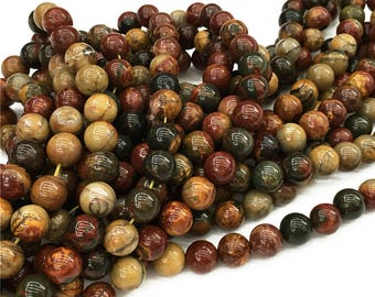 1Full Strand Red Creek Jasper Round Beads  8mm 10mm Wholesale Gemstone For Jewelry Making