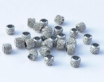 20pcs  Rhinestone Crystal Large Hole Beads,8mm*8mm Crystal European Beads