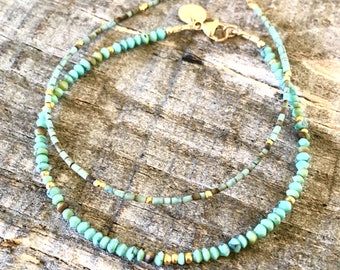 Natural Turquoise and Yellow Gold Nugget Bead Bracelet or Anklet/Stacking Bracelets