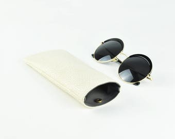 Glasses Case, Sunglasses Case, Glasses Holder, Phone Case, White Pattern, Magnet Button