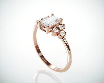 SALE! 14K Rose Gold Moissanite and Diamonds Engagement Ring  | Charles & Colvard Forever One Emerald Cut Mossanite Diamonds engagement ring